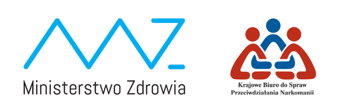 Logo Ministerstwa Zdrowia oraz Krajowego Biura do Spraw Przeciwdziałania Narkomanii